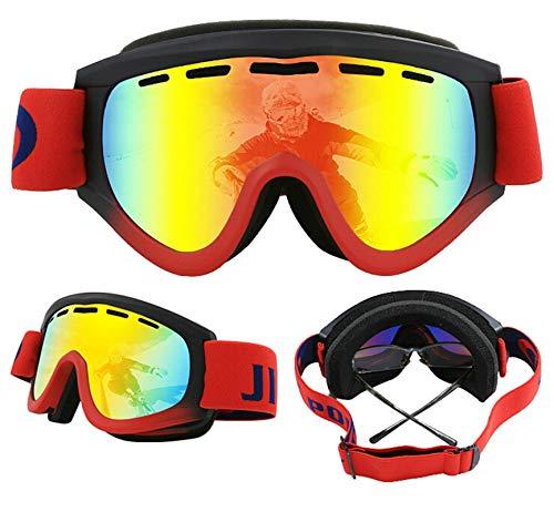 Amody Skibrille Herren Doppel-Layer Anti-Fog Myopia Cylindrical Ski Brillen rot