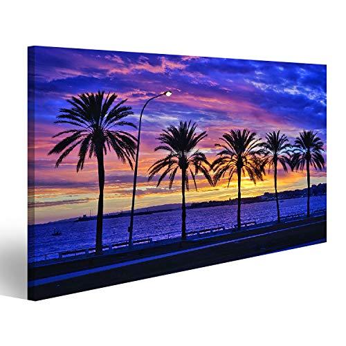 Bild Bilder auf Leinwand Sonnenuntergang hinter den Palmen in Palma de Mallorca Wandbild, Poster, Leinwandbild SJU