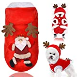 Dusenly Christmas dog costume autumn and winter button Santa pet jacket antler hoodie, dog clothes and cat clothes, winter pet sweater hat and puppy cat (Small)