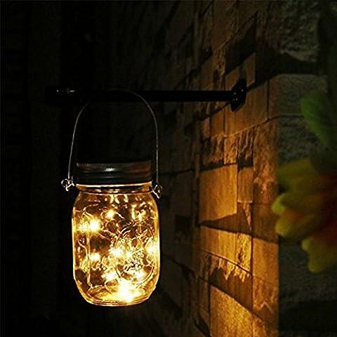 Mason Jar lumières solaires,Table de jardin LED à LED solaire extérieure Lumières suspendues de lanterne Lampes pour Patio Party Christmas Holiday Décorations de mariage,Pour toute l'année Outdoor Using(1Pcs, Blanc