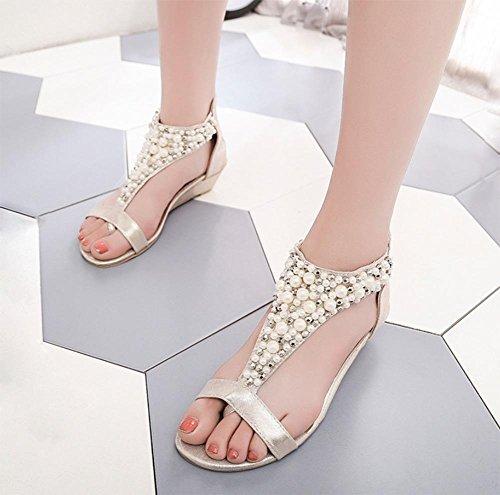 Frauen Sandalen Sommer Sandalen Frauen Diamant-Perlen Klippzehesandelholz Steigung mit Schuhen apricot