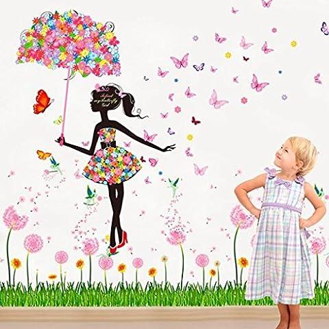 Adesivo da parete Fulltime® wall stickers, Nuovi adesivi fiore Farfalla fata per il bambino vivaio camera da letto camera pareti soggiorno