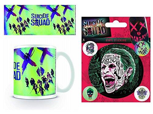 Set: Suicide Squad, Face Tazza Da Caffè Mug (9x8 cm) E 1 Suicide Squad, Sticker Adesivo (12x10 cm)