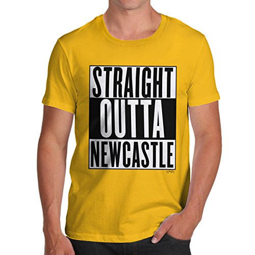 Herren Straight Outta Newcastle T-Shirt Gelb