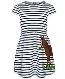 zoolaboo, Jersey-Kleid Kurzarm PFERD MIT KLEE, gestreift, weiß/dunkelblau, Größe 98