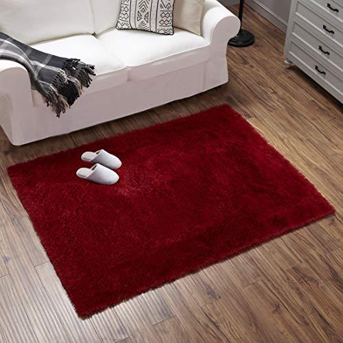 Teppich Wölkchen Hochflor-Plüsch-Teppich I Wohnzimmer Kinderzimmer Schlafzimmer Flur Läufer I rutschfeste Unterseite I Rot - 140 x 200