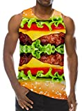 Chicolife 3D Hamburger Stampa Funny Pattern Realistico Underwaist Gym Tank Top per Uomo XX-Large