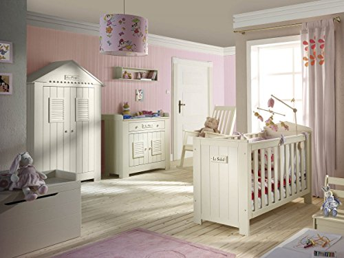 QMM TraumMöbel Babyzimmer Kinderzimmer Saint-Tropez Weiss, Holz massiv, Komplettset B, Bett Schrank Wickelkommode