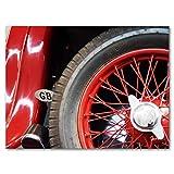 Glücksvilla Oldtimer 14 - Exklusives Künstlermotiv, XXL Bild/Wandbild, Größe: 120 x 90 cm Quer-Format, Digital-Druck auf Acrylglas 5 mm, Auto Fahrzeug Rad Reifen