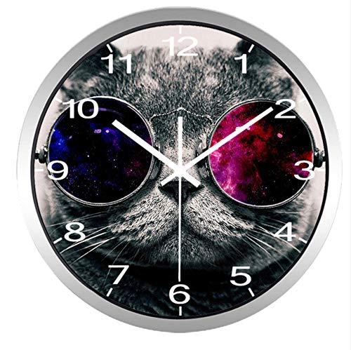Wanduhr Metall Glas Runde lustige Katze mit Glas Wanduhr Moderne Uhr für Wohnzimmer, stille 10 Jahre Leben Arbeiten Uhr Uhr(12inch)