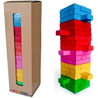 FunBlast Wooden Blocks 54 Pcs Challenging Color Wooden Tumbling Tower, Toys with Dices Board Educational Puzzle Game…