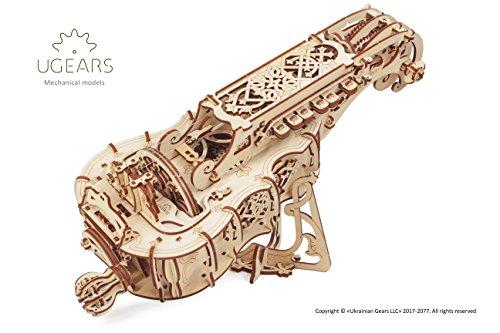 Ugears ghironda in legno, strumento musicale (kit fai da te da costruire) per musica folk e moderna |modello realmente f puzzle 3d