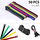 [50 Piezas ] Tiras de Velcro para Cables, AKWOX Velcro Cables (15cm/20cm) - Azul, Amarillo, Verde, Rojo, Negro (5 Colores Distintos/10 Piezas de Cada Color) Cintas de Velcro