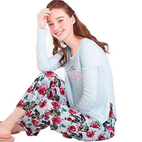 Le maniche lunghe della primavera e dell'autunno pantano il vestito di pigiama domestico allentato ( Colore : Multicolore , dimensioni : L. ) Multicolore