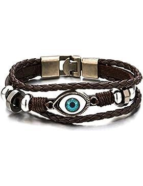 Drei Reihen Bösen Blick Blatt Leder Charms - Armband für Herren für Jungen für Damen Leder Wickeln Schweißband