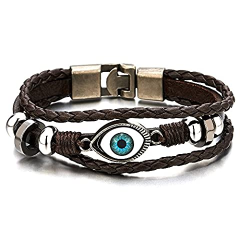 Three-row Mens Womens Tribal Evil Eye Beads Charms Leather Bracelet Wristband Wrap Bracelet