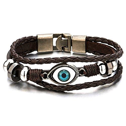 COOLSTEELANDBEYOND Drei Reihen Bösen Blick Blatt Leder Charms - Armband für Herren für Jungen für Damen Leder Wickeln Schweißband