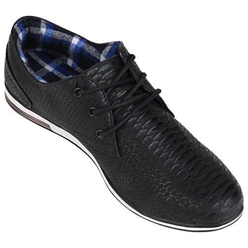 napoli-fashion Herren Schuhe Business Schnürer Halbschuhe Weiße Sohle Velours VanHill Schwarz Cabanas