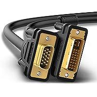 DVI en cable VGA Ugreen, 1,5m DVI-I 24+ 5enchufes de 15 pines, conector VGA, cable adaptador con convertidor, dorado, cable de cobre de alta pureza, compatible con 1080P para gaming, DVD, portátil, HDTV y proyectores