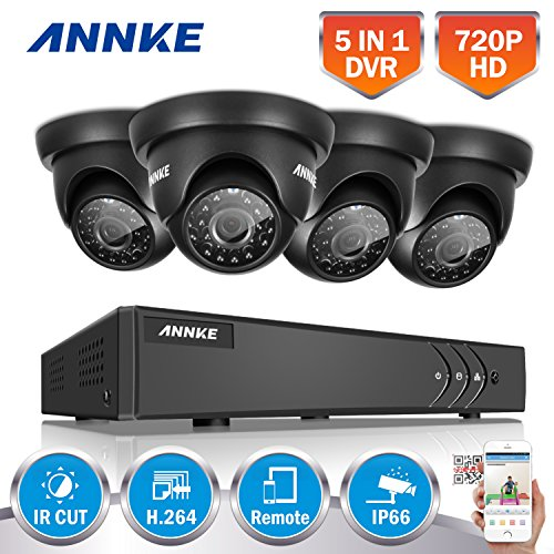 ANNKE Security Cameras System Smart HD 1080P Lite 4+1 Channels DVR Recorder w/ 4x 720P HD Outdoor Dome Camera, All-weather Adaptation, Email Alert with Images, Mobile App: ANNKE View, NO HDD