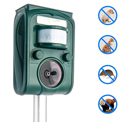 Top-Vigor Cat Repellent Ultrasonic Solar Powered Animal Repeller Battery Operate Cat Dog Pest Repellent Outdoor Waterproof with Motion Senor and Flashing light for Farm Garden Yard Field to Scare Dog Cat Mouse Bird Squirrel Fox and More