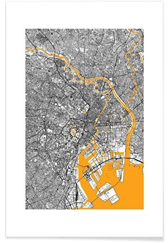 """JUNIQE® Poster 100x150cm Stadtpläne Tokio - Design """"Orange Infusion In Tokio"""" (Format: Hoch) - Bilder, Kunstdrucke & Prints von jungen Künstlern entworfen von Mattygug"""