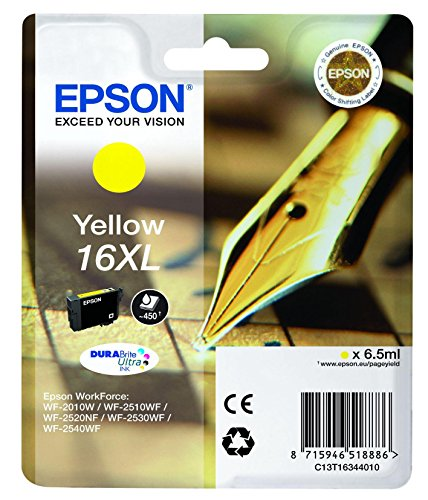 epson tintenpatronen 16xl Epson Original T1634 Tintenpatrone Füller, wisch- und wasserfeste Tinte XL (Singlepack) gelb