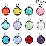 Healifty 12 stücke Birthstone anhänger Charme 12 Farben Strass baumeln anhänger mit Ring für Kinder schwimm medaillon Halskette Geschenk schmuck Machen (mischfarbe)
