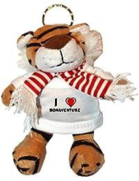 Tigre de peluche (llavero) con Amo Bonaventure en la camiseta (nombre de pila/apellido/apodo)