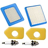 OxoxO 399959 491588 491588S 4915885 Air Filter With Foam Filter 698369 Spark Plug For Briggs & Stratton 5043B 5043D 5043H 5043K John Deere PT15853 (Set of 2)