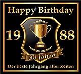 3 St. Aufkleber Original RAHMENLOS® Design: Selbstklebendes Flaschen-Etikett zum 30. Geburtstag: 1988 Der beste Jahrgang