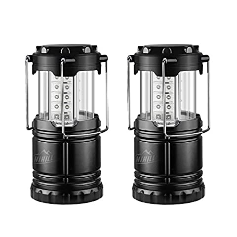 HiHiLL Lampes Lanterne Camping *2 Etanches Pliables 30 LED, Alimentés par Batterie Equipement de Camping pour la Randonnée, en Plein Air, les Urgences (LT-CL04,