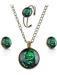 lureme® Serie Gema tiempo Sencillo Vendimia Estilo Pendant Collar Stud Aretes Brazalete Sistemas de la joyería(SET001)