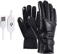 ADLOASHLOU Guantes calefactables, Guantes eléctricos de Invierno con alimentación USB, Resistentes al Viento,