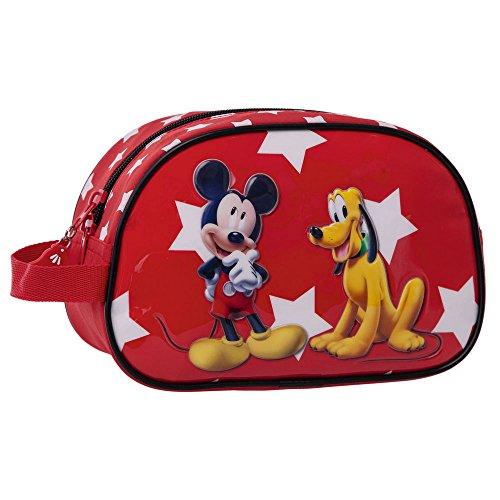 Disney Mickey y Pluto Neceser Adaptable, Color Rojo, 3.36 Litros