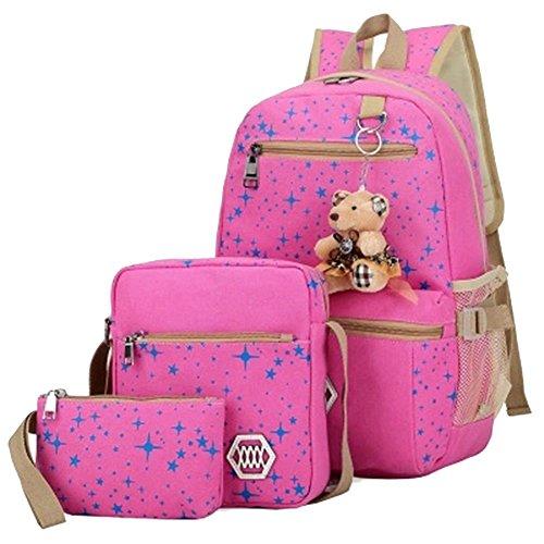 YiLianDa Sac à dos Scolaire Loisir Voyage Set Sac porté dos 3 en 1 Cartable Shoulder Messenger Bag Portefeuille Backpack