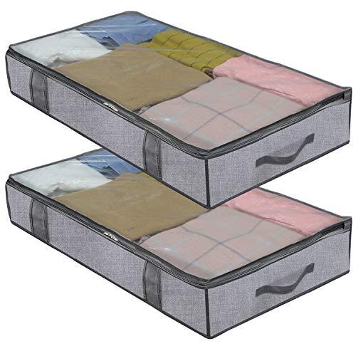 homyfort 2 Stück Premium Unterbettkommode mit Sichtfenster, Unterbett-Aufbewahrungstasche Kleideraufbewahrung, Decken Organisator Lagerbehälter, 4 Haltegriffen, 100x 50x 15 cm, Grau Leinen, XDUBBP2 - 15 Leinen