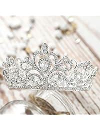 Jovono - Corona de cristal vintage para mujer, diseño de estrás, tamaño pequeño