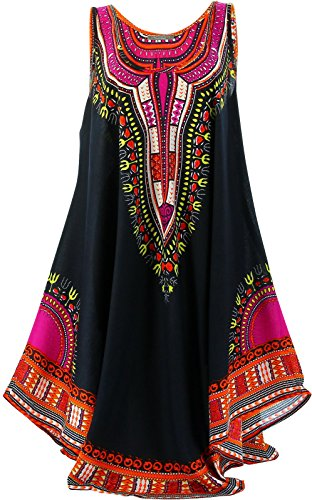 Charleselie94 - Kleid lange tunika ethnisch boheme schwarz - INCAS Schwarz