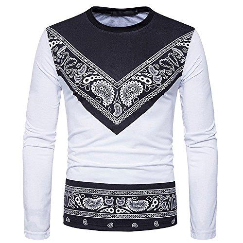 Herren Basic Langarmshirt,Loveso  Männer Herren Mode Afrikanisch Traditionelles Drucken Muster Lange Ärmel T-Shirts Erwachsene Bluse Oversize Longsleeve Rundkragen Sweatshirts