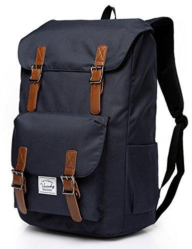 VASCHY Schulrucksack Jungen Rucksack Vintage Rucksack Camping Rucksack Teenager Rucksack Laptop für 15,6 Zoll Laptop -Blau