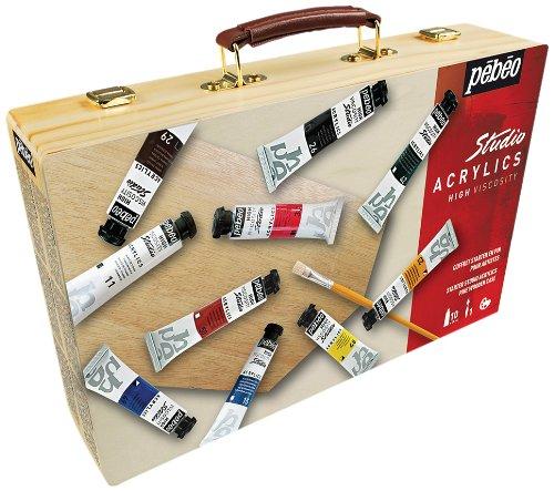Pebeo - Juego de pinturas acrílicas para principiantes (en maletín de madera)