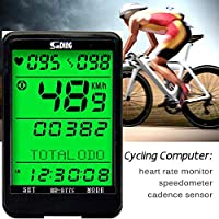 ARCELI SD 577C Velocímetro de Bicicleta Monitor de cadencia de Ritmo cardíaco inalámbrico Cronómetro Bicicleta Computadora Ciclismo Odómetro Accesorios