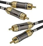 aricona 2 x Cinch auf 2x Cinch Kabel – Digitales Koaxialkabel für HiFi- und Heimkino Systeme / 1 Meter