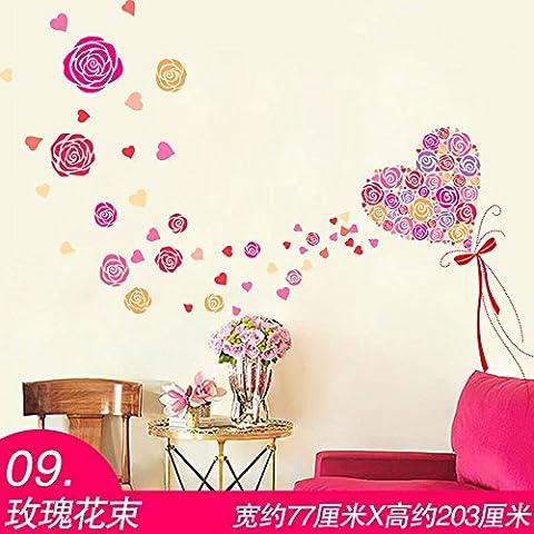 3D stickers Wall stickers autoadesivi carta di parete letto matrimoniale camera da letto camera romantica decorazione giovane,09. Bouquet di rose