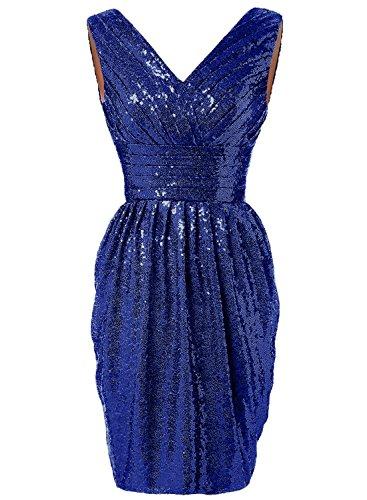 Azbro Women's V Neck Sleeveless Sequins Cocktail Dress Royal Blue