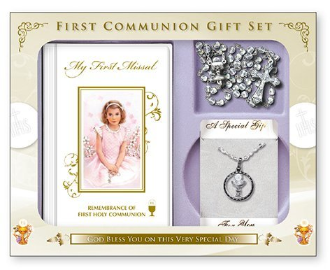 FHC First Holy Communion Gift Set Girl Missal Book, Rosary Beads, Nickel Chalice Medal and Chain