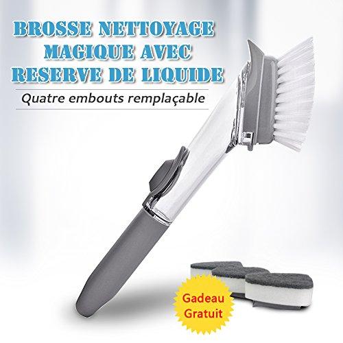 Cepillo de limpieza - Cepillo doméstico 2 en 1 con dispensador de jabón 4 Puntas reemplazables bactericidas para utensilios de cocina / baño