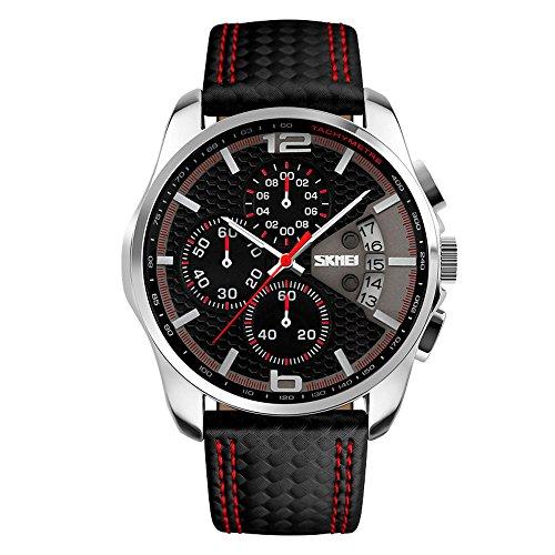 SKMEI Herren Quarzuhr Sport Watch Leder Armbanduhr Wasserdicht Datum Business Chronograph Watch