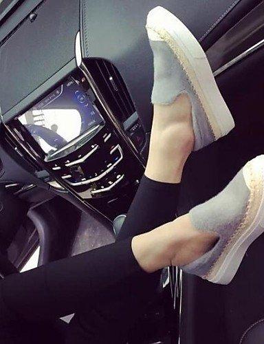 Shangyi Gyht Chaussures Femme-mocassins-loisirs / Sporty-confortable / Fermé-flat-faux Cuir-noir / Gris Gris